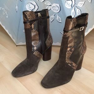 Brown Tory Burch leather boots